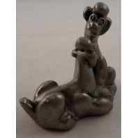 Pewter Collectible Figurine Animaltwo 2 Poodle Puppy Dogs Playing