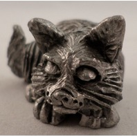 Pewter Collectible Figurine Animal Sleeping Resting Kitten