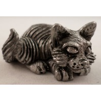 Pewter Collectible Figurine Animal Sleeping Resting Kitten