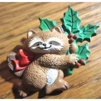 Vtg Cute Raccoon Holly Bow Brown White Red Green Pin Hallmark