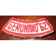 Bsa Boy Scout Uniform Patch Geronimo 1962 Red And White Segment Bar