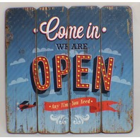 Come In We're Open Wooden Plank Sign Shop Store Decor Distressed StyleWelcome