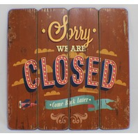 Sorry we are Closed Wooden Plank Sign Shop Store Decor Distressed StyleWelcome