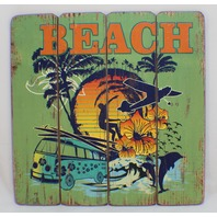 Beach Tropical Design Wooden Plank Sign Shop Decor Distressed Style Welcome