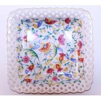 Vintage Germany Porcelain Lace Square Floral Candy Dish Plate German