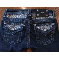 Miss Me Kids Girls Skinny Whiskered Blue Denim Jeans Sz 10 Bling Button Pockets