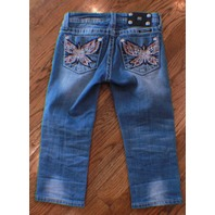 Miss Me Kids Girls Medium Wash Butterfly Blue Denim Jeans Capris Sz 10