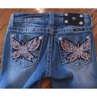 Miss Me Kids Girls Medium Wash Butterfly Blue Denim Jeans Capris Sz 10