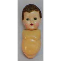 Vintage Tiny Tears Baby Doll Head only Auburn Coarse Hair Saran Wig Parts