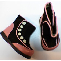See Kai Run Boutique Button Boots Shoes Sz 3 Infant Baby Carley Style Brown Pink