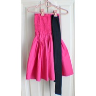 Abercrombie & Fitch Fuschia Pink Smocked Strapless Dress W/Navy Ribbon Belt Sz S
