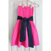 Abercrombie Fitch Sz S Fuschia Smocked Strapless Dress W/Navy Belt