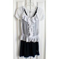 Abercrombie & Fitch A & F Flowy Criss Cross Strap Ruffle Navy Dress Sz S W/Bonus