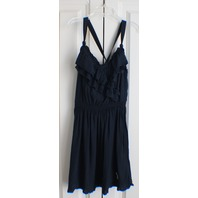Abercrombie & Fitch A & F Flowy Criss Cross Strap Ruffle Navy Dress Sz S W/Bonus