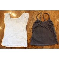Abercrombie & Fitch A & F Kid Girls Sz S Pair Of Lace Ruffle Tops Camis Gray White