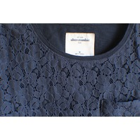 A & F Abercrombie Kids Sz M Navy Lace Pocket Short Sleeve Shirt