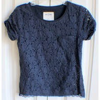 AF Abercrombie Girl Kids Sz M (10-12) Navy Lace T-Shirt w/ Pocket