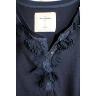 Abercrombie Kids Nwt Sz S Button Front Navy Short Sleeve Shirt