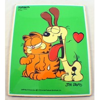 Playskool Vintage Wooden Puzzle Garfield and Odie Slurp! by Jim Davis 1978