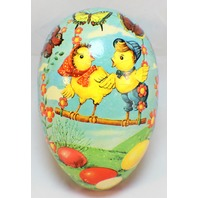 Vintage Large Paper Mache Easter Egg Candy Container West Germany Spring Chicks