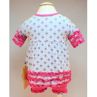Kickee Pants 0/3 Month Outfit Pink and Blue Ruffle Dress & Bloomers New with tag