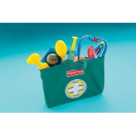 Fisher Price Preschool Doctor Bag Kit Stethoscope Bandaid, Blood Pressure Shot