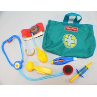 Fisher Price Preschool Doctor Bag Kit Stethoscope Bandaid, Blood Pressure Shot