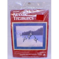 "Stitchery Needle Treasures Ducks In Flight Frame Size 24"" X 20"" Approx New Kit"