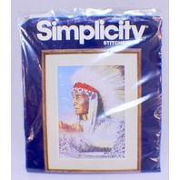 "Simplicity Stitchery The Great Spirit Indian Chief Needlepoint 11"" x 14"""