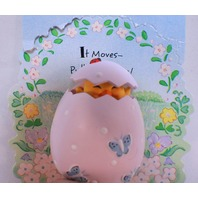 Hallmark Hat Lapel Pin Easter Chick in an Egg Mint on Card with motion