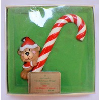 1979 Hallmark A Christmas Treat Tree Trimmer Bear Candy Cane ornament w Box