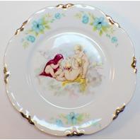 """Vintage Hutschenreuther Gelb LHS Lion Bavaria Plate 7.5"""" diam. Cherrubs Angels"""