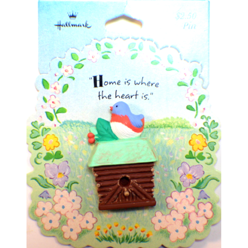 Home is where the Heart is Birdhouse Bird Hallmark Hat Lapel Pin Brooch on Card