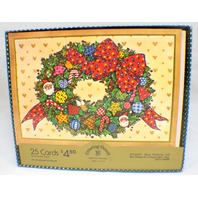 Drawing Board Greeting Cards Country Holiday Wreath Boxed set 25 w/ envelope