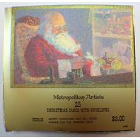 Metropolitan Artists Christmas Greeting Cards Santa Boxed set 25 w/ envelope