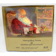 Metropolitan Artists Christmas Greeting Cards Santa Boxed set 25 w/ envelope