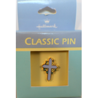 Easter Cross in blue Hallmark Hat Lapel Pin Brooch in box tie tack
