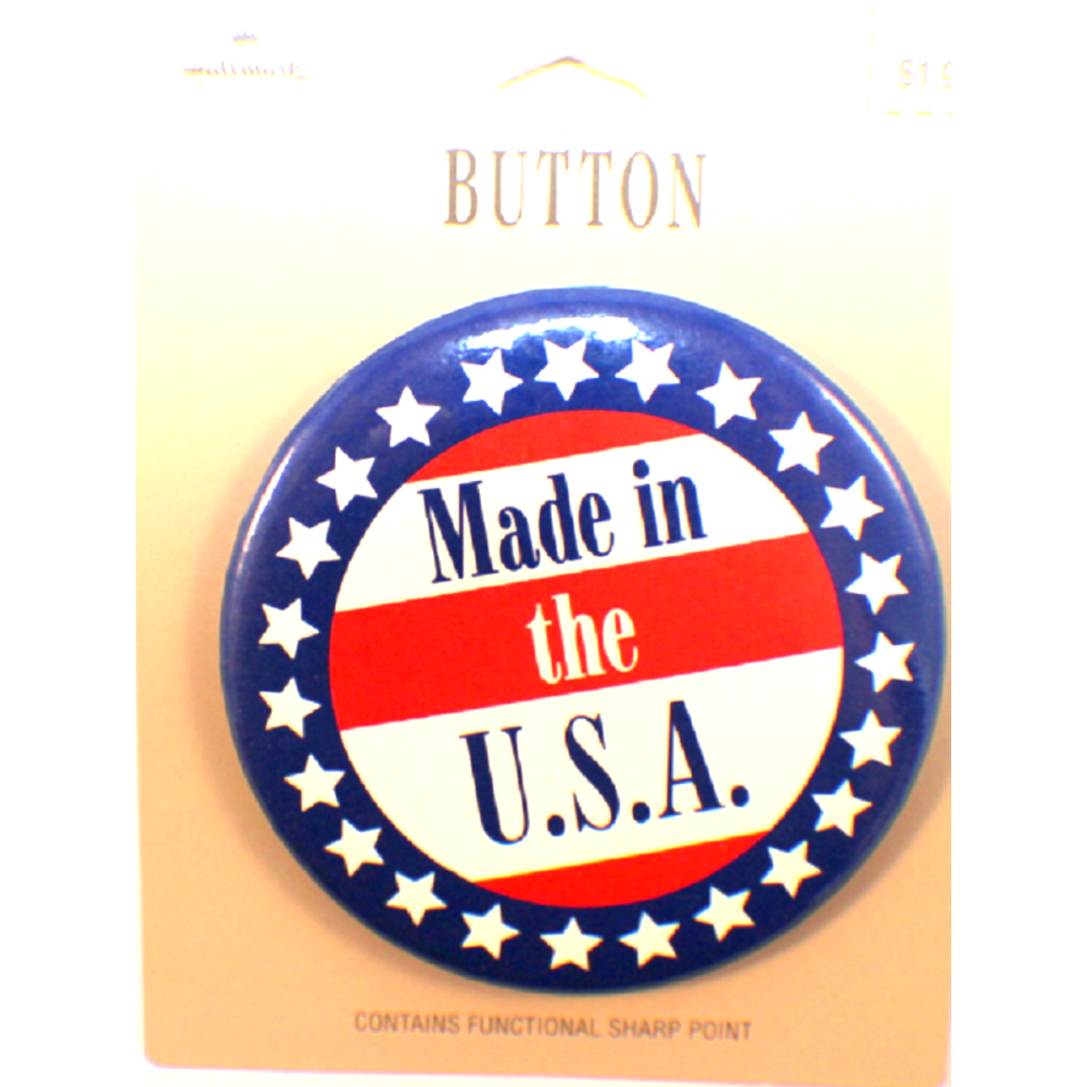 Made in the USA Button Hallmark Lapel Pin on original card