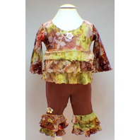 Rubbies Lettuce Ruffle Floral Swing Top and Bloomer Pants Outfit 6 month
