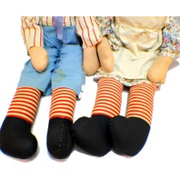 Knickerbocker Raggedy Ann and Andy Plush Cloth Doll Xl Lg Red White & Blue box