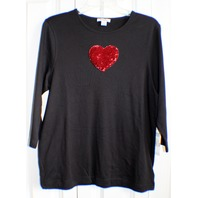 Women's NWT Hampshire Studios Sz Large LG 3/4 length sleeve Sequined Heart