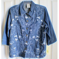 Women's Allison Daley 12 Petite Embroidered Button Down Denim Jean Jacket