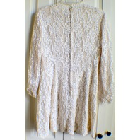 Women's 1960's Style Short Brocade All Over Lace White Lined Dress