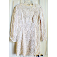 Women's 1960's Style Short Flower Lace All Over Lace White Lined Dress