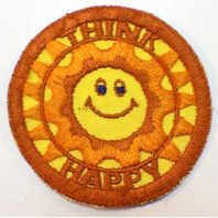 "Cool Vintage Think Happy Hallmark Brand ""Rumper Stitcher"" Patch Emblem 3"""