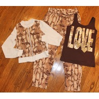 New Justice Animal Print Lot Sz 10 Brown Tan Pants Sequin Tank Zip Jacket