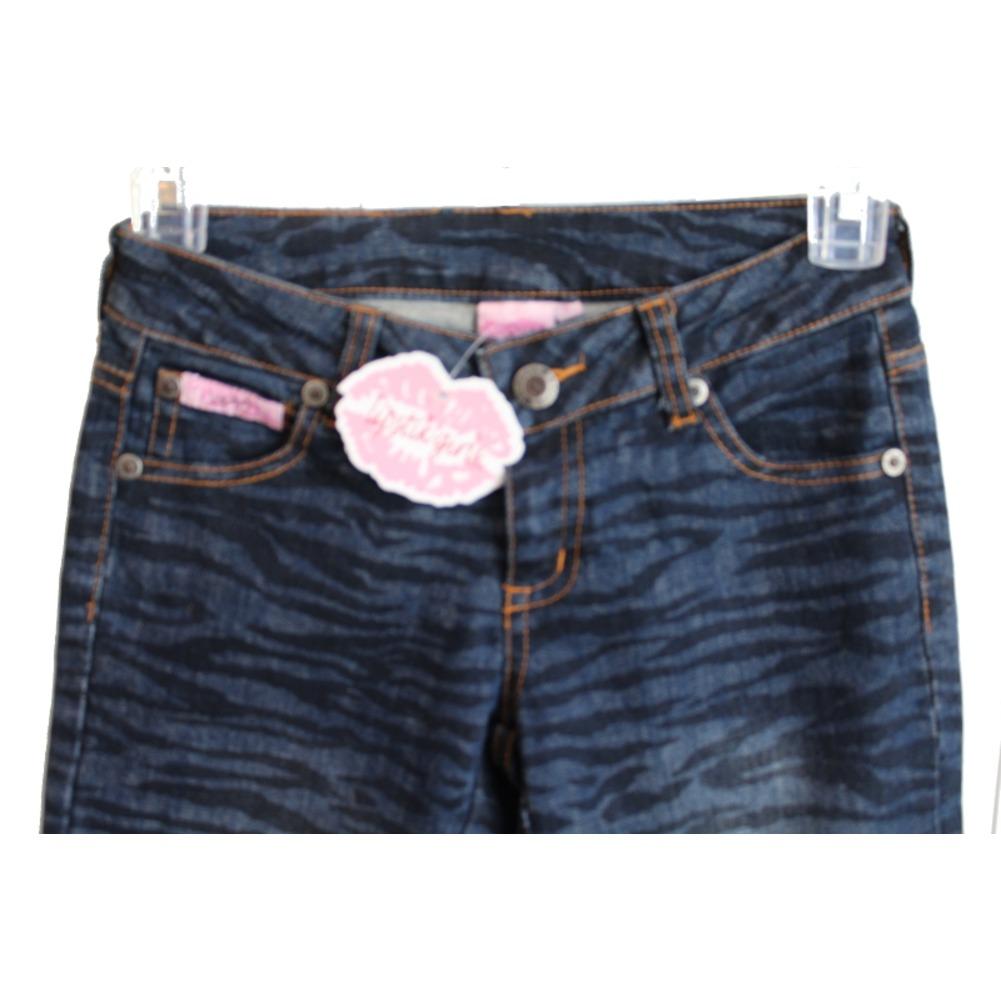 New Lipstik Lipstick NWT Girls Zebra Blue Denim Jeans Sz 8