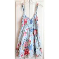 Abercrombie Kids A & F Girls Pink Blue Flower Smocked Sun Dress Sz S