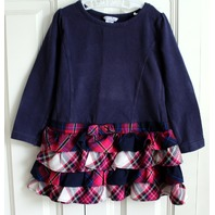 Girls Boutique Hartstrings Sz 2T Toddler LS  Navy Plaid Ruffle Dress
