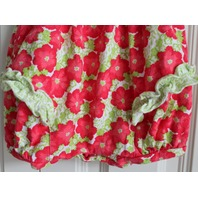 Le Top Romper Sz 3 Mo Smocked Flower Ruffle Red Gree Snap Bottom